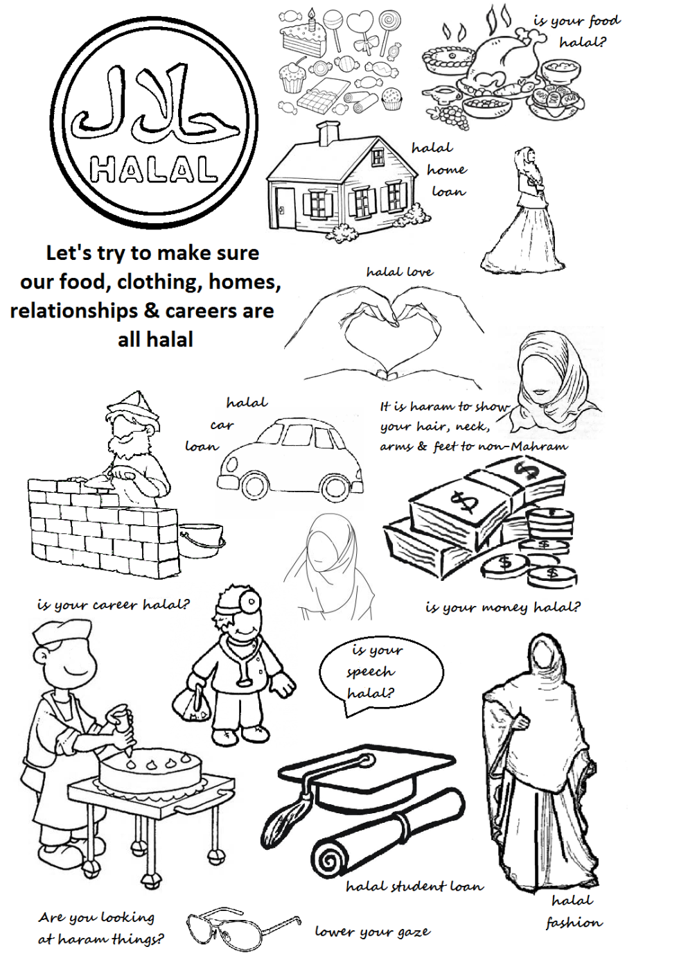 hijab coloring page u2013 islamic worksheets for children